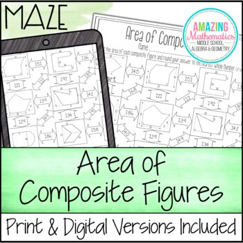 Area Of Composite Figures Worksheet Maze By Amazing Mathematics Tpt