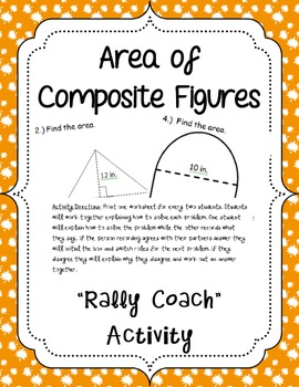 "Area of Composite Figures ""Rally Coach"" Activity"