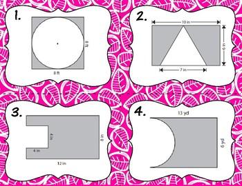 Area of Composite Figures - Subtraction Task Cards