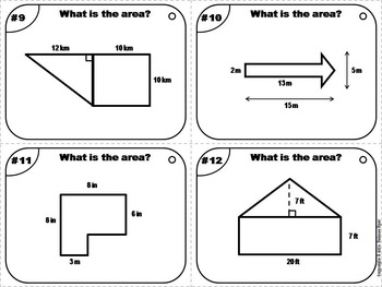 Area of Composite Figures Task Cards 5th 6th 7th 8th 9th Grade
