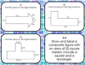 Area of Composite Figures Task Cards