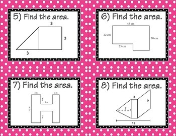 Area of Composite Figures Task Cards (Triangle and Quadrilaterals)