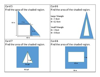 Area of Composite Shapes (Square, Rectangle, and Triangle) Task Cards SOL 6.10