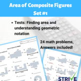 Area of Composite Shapes and Shaded Area Worksheet - Set #1