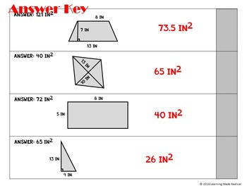 Area of Geometrical Shapes Chain Reaction Activity