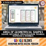 Area of Geometrical Shapes Google Slides Bookmark Notes