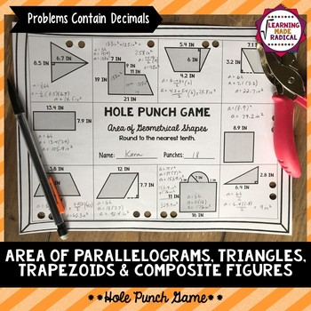 Area of Geometrical Shapes Hole Punch Game