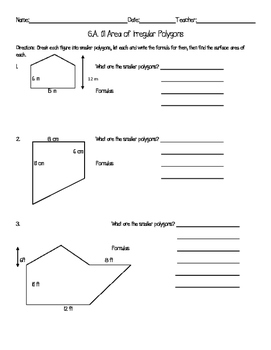 Area of Irregular Polygons Worksheet