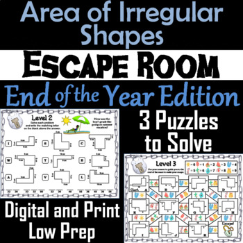 Area of Irregular Shapes Activity: Geometry Escape Room End of Year Math Game