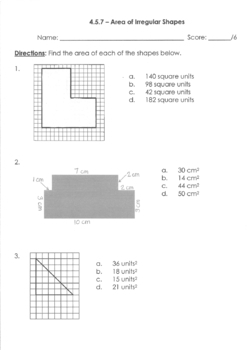 Area of Irregular Shapes Quiz