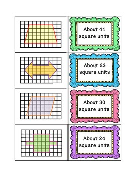 Area of Irregular Shapes Sorting Activity