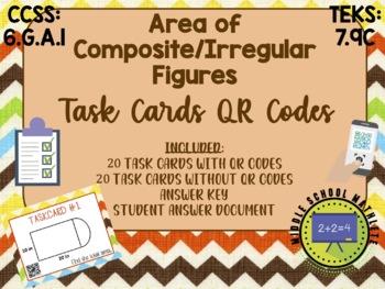 Area of Irregular / Composite Figures Task Cards QR Codes