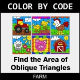 Area of Oblique Triangles - Color by Code / Coloring Pages - Farm