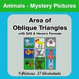 Area of Oblique Triangles - Math Mystery Pictures - Animals
