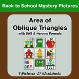 Area of Oblique Triangles - Math Mystery Pictures - Back T