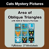 Area of Oblique Triangles - Math Mystery Pictures - Cats
