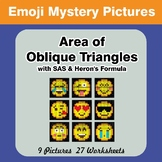 Area of Oblique Triangles - Math Mystery Pictures - Emoji