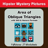 Area of Oblique Triangles - Math Mystery Pictures - Hipsters