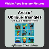 Area of Oblique Triangles - Math Mystery Pictures - Middle Ages