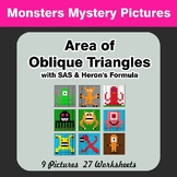 Area of Oblique Triangles - Math Mystery Pictures - Monsters