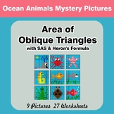Area of Oblique Triangles - Math Mystery Pictures - Ocean Animals