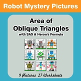 Area of Oblique Triangles - Math Mystery Pictures - Robots