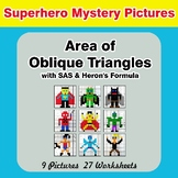 Area of Oblique Triangles - Math Mystery Pictures - Superhero