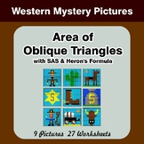 Area of Oblique Triangles - Math Mystery Pictures - Western