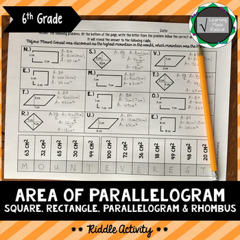 Area of Parallelogram Riddle Activity 6.G.A.1