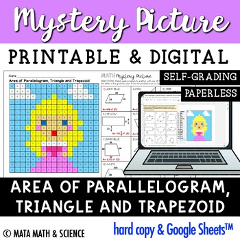 Area of Parallelogram, Triangle & Trapezoid: Mystery Picture (Princess)