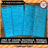 Area of Parallelogram, Triangle, Trapezoid & Rhombus Bookmark Notes
