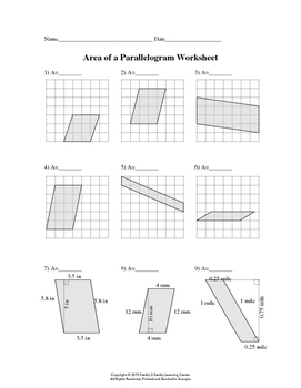 Area of Parallelogram Worksheet