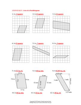 Area of Parallelogram Worksheet