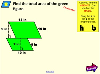 Area of Parallelograms Basic Whole Number Practice SMARTBoard Notebook