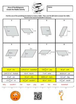 Area of Parallelograms Create the Riddle Activity