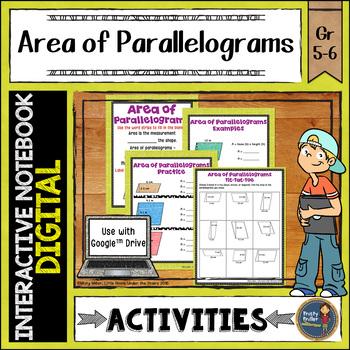 Area of Parallelograms Digital Interactive Notebook Google Drive