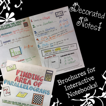 Area of Parallelograms - Doodle Note Brochure for Interactive Notebooks