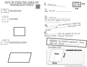 Area of Parallelograms - Decorated Notes Brochure for Interactive Notebooks