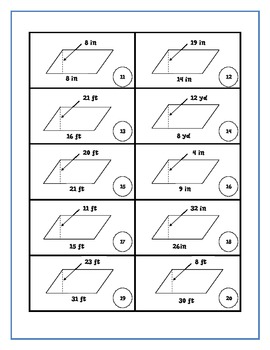 Area of Parallelograms - Parallelograming for Pearls Math Workstation Activity