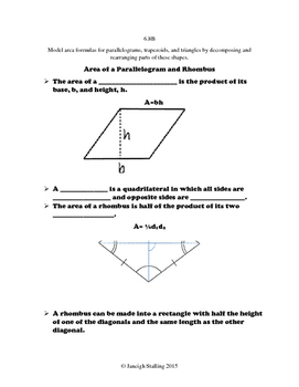 Area of Parallelograms, Rhombuses, Trapezoids, and Triangles INB TEKS 6.8B