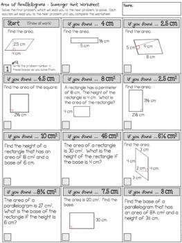 Area of Parallelograms - Scavenger Hunt Worksheet