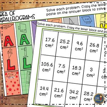 Area of Parallelograms Solve, Color, Cut