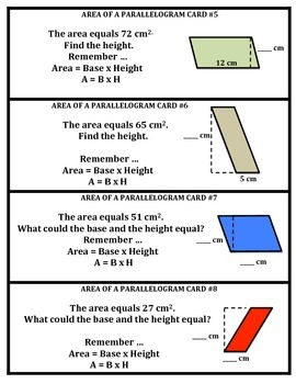 Area of Parallelograms Task Cards