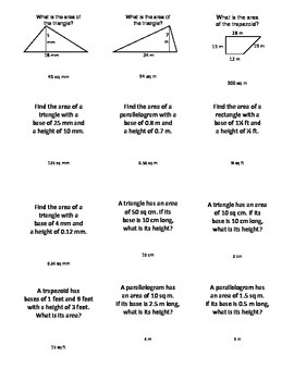 Area of Parallelograms, Trapezoids, Triangles Board Game