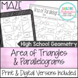 Area of Parallelograms & Triangles Worksheet - Maze Activity