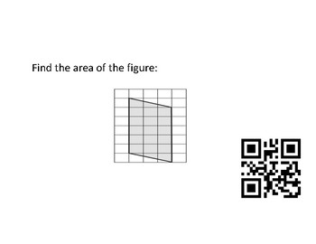 Area of Parallelograms, Triangles, Trapezoid, QR code task cards