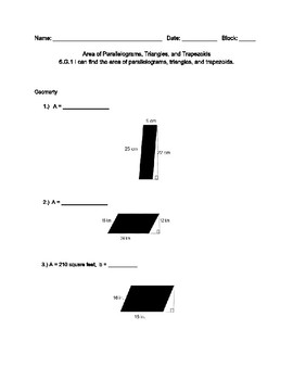 Area of Parallelograms, Triangles, and Trapezoids
