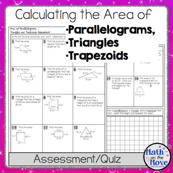 Area of Parallelograms, Triangles, and Trapezoids - Assessment or ...