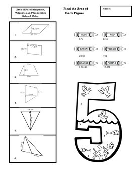 Area of Parallelograms, Triangles and Trapezoids Coloring Activity