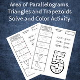 Area of Parallelograms, Triangles and Trapezoids Coloring